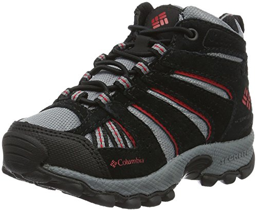 Columbia Childrens North Plains Mid Waterproof Jungen Trekking- & Wanderhalbschuhe, Schwarz (Grey Ash/mountain Red 021), 27 EU, BC2854