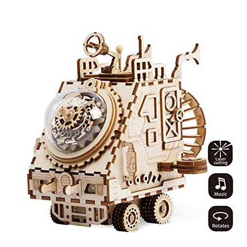 superaddnow ROBOTIME Punk Style Roboter Spieluhr Laser Schnitt hölzernes Puzzlespiel DIY Mechanismus Spieluhr hölzernes Modell Gebäude Geburtstags und Weihnachtsgeschenke für Kinder und Erwachsene (Raumfahrzeug)