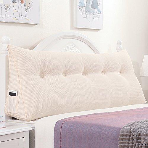 Qiangda capezzale cuscino per schienale triangolare grande borsa da comodino con / senza testiera lenzuola per singola / doppia camera da letto, 4 colori solidi, 5 taglie a disposizione ( colore : creamy white , dimensioni : 180 x 22 x 50cm )