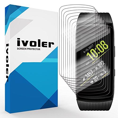 iVoler [8 Stück] Schutzfolie Displayschutzfolie für Samsung Gear Fit 2 Pro, 3D Vollständige Abdeckung [Wet Applied] [Anti-Kratz] [Blasenfrei] HD TPU Weich Folie