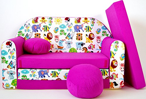 neo4kids-Divano letto per bambini, 3in 1poltrona letto estraibile con motivo, piccolo cuscino e un cuscino incluso. Per Dormire e giocare.