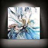 XIAOXINYUAN Minimalistische Kunstdruck Abstrakt Blau Bold Art Küstenlandschaft Wall Bilder Für Wohnzimmer Home Dekor 70 X 70 cm Ohne Rahmen