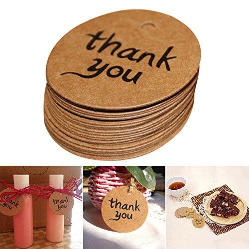 Gezichta 100pezzi di carta regalo tag, Thank You tag personalizzata carta regalo tag, etichette Kraft per matrimonio, Natale, ringraziamento, arti e mestieri