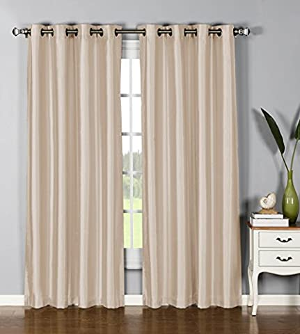 Window Elements Jane Faux Silk 76 x 84 in. Grommet Curtain Panel Pair, Taupe