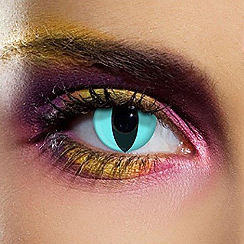 n Ohne Stärke Katzenauge Aqua (90 Tage) (Cat Eye Kontaktlinsen Für Halloween)