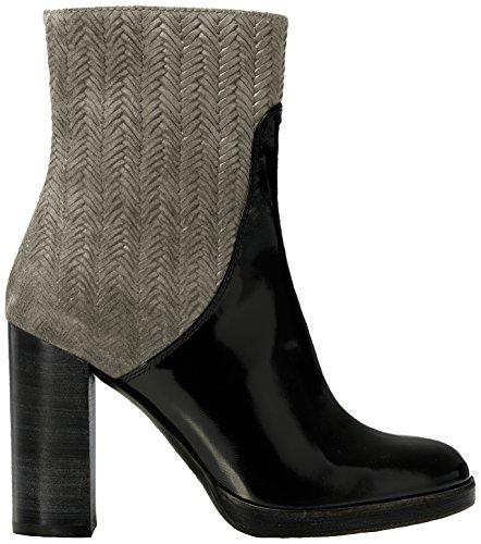 Castañer - CAMILLE / box leather woven suede, Stivali da Donna Multicolore(Sand / Black)