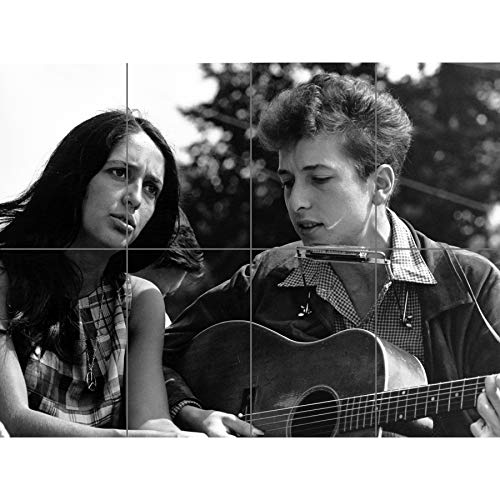 Artery8 Folk Singers Joan Baez Bob Dylan Guitar Old Photo XL Giant Panel Poster (8 Sections) Guitare Photographier Affiche