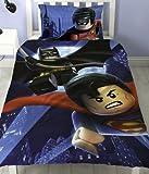 LEGO Super Hero DC Comic Charakter Batman Reversible Single Bettbezug Set Bettwäsche für Kinder Jungen, Batman vs Superman, Einzelbett
