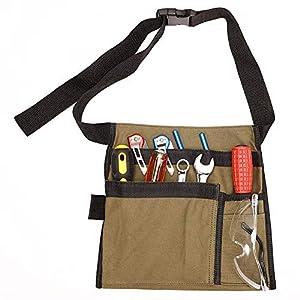 Bolsa de herramientas de delantal de un solo lado de lona con 5 bolsillos y cinturón de cintura ajustable, regalo de herramientas para hombres, manitas de bricolaje, papá, esposo
