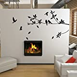 Tree and Bird Wall Stickers / Decals (Black)