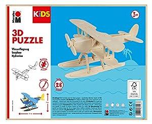 Marabu 0317000000002 Kids 3D - Puzzle de Madera (28 Piezas), diseño de avión acuático 21 x 9 cm, Color marrón