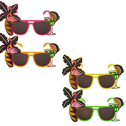 MAXGOODS 1 Set 4 Stk Erwachsene Flamingo Cocktail Hawaiian Neuheit Sonnenbrille Hen Stag Party Junggesellenabschied Kostüm