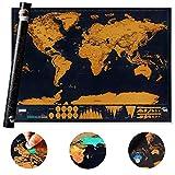 Mappa Del Mondo Da Grattare - Scratch Map - XXL 82.5x59.4 Cm - Deluxe Edition - Cartina Geografica Fisica-Politica Con Nazioni Colorate Grattabili Singolarmente.