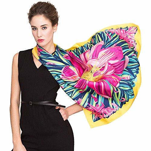 IRANI Frauen Maulbeere Seide Schals Satin Quadrat Schal 35x35 Zoll (Seide Schmetterling Tie)