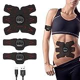 Wolfyok Bauchmuskeltrainer, EMS Trainingsgerät, USB wiederaufladbare Bauchmuskeln Muskelaufbau Bauchmuskel Fitness Trainer für Bauch / Arm / Bein Training Damen Herren