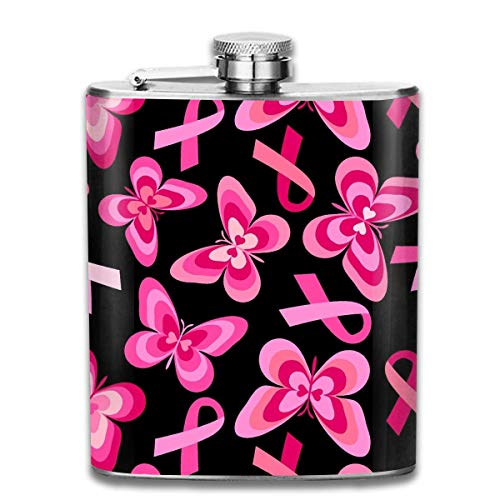 n Pink Butterfly Pattern Stainless Steel Hip Flask 7 OZ - Sneak Alcohol Anywhere for Man,Woman ()