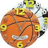 FGJMN Horloge Murale Creative Sport Style Basketball Football Analogique Horloge Murale Décor À La Maison Souvenir Enfants Enfants Cadeaux Arabe Décoration Moderne, Marron...