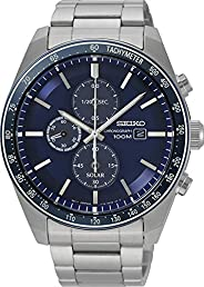 Seiko Mens Solar Powered Watch, Analog Display and Stainless Steel Strap SSC719P1