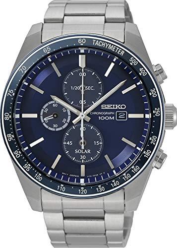 Seiko Herren Chronograph Solar Uhr mit massives Edelstahl Armband SSC719P1 (Seiko Solar Herren-uhr)