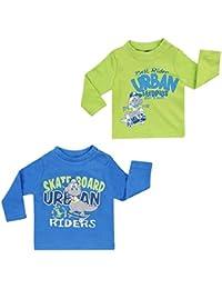 "Jacky Baby - Jungen Sweatshirt Langarm-Shirt 2er-Pack ""Dino"" blau/grün 6131782"