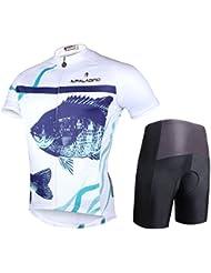 Tops pour hommes en vélo pour hommes avec pantalons courts Polyester Anti-UV Quick Dry Vêtements de vélo respirant Pantalons courts à manches courtes