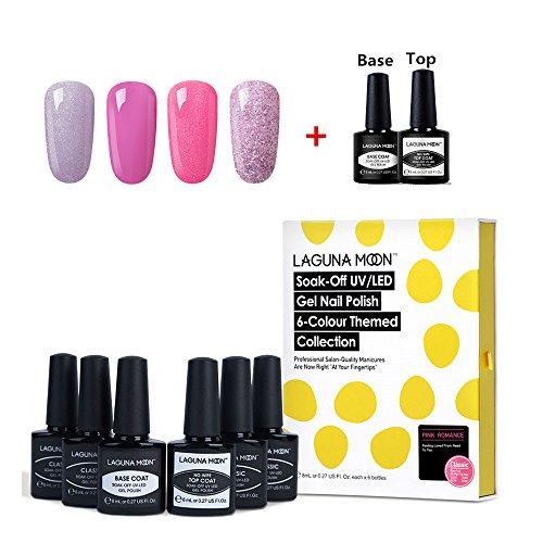 Lagunamoon Gel Nail Polish Set Base Coat and No Wipe Top Coat Gel Polish Pink Gel Nail Colours 6pcs