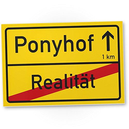 Ponyhof Ortsschild (30 x 20 cm) - Lustiges Kunststoff Schild, Türschild Büro/Zimmer, Geschenkidee Geburtstagsgeschenk Pferde Beste Freundin/Kollegin - Das Leben ist Kein Ponyhof Geschenk