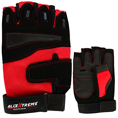 Allin Exporters Multipurpose Gym And Bike Gloves For Fitness,Weightlifting Exercise Half Finger Sport Cycling Fitness Gloves - Red (L)  available at amazon for Rs.475