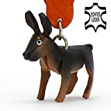 MONKIMAU German shepherd dog - key-ring deco figure made of genuine leather in the category plush toy / stuffed animal / soft toy Article in brown - your best friend. Always there! - about 5cm