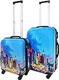 ABS Hartschalen Koffer mit Teleskopgriff und Zahlenschloss Farbe Las Vegas City