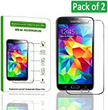 New Horrizon - Tempered-Glass Explosion - Proof Screen Protector for Samsung Galaxy S5 Premium Crystal Clear - High Quality 9H Hardness