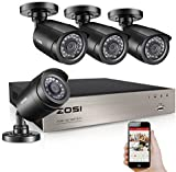 ZOSI 8-Channel HD 720P Video Security Camera System 4 x 1280TVL 720P 1.0MP Bullet Cameras /1080N Video DVR recorder Supports AHD, TVI, CVI, 960H Analog Cameras/Easy Smartphone & Web-browse Access