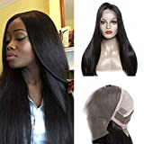 Maxine Pre Plucked and Bleached Knots Full Lace Human Hair Wigs for Black Women Peruvian Straight 180 density Glueless Lace Front Wigs with Baby Hair £¨16 inch full lace wig)
