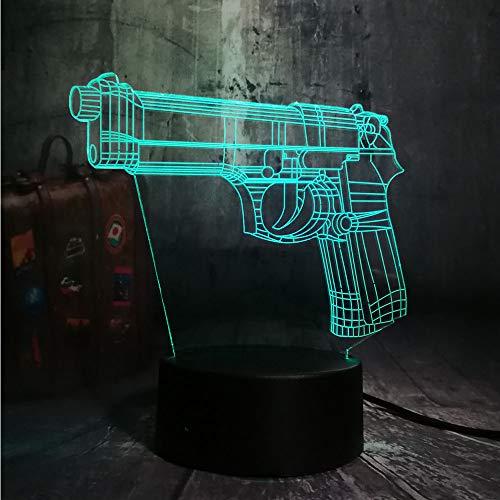 Crjzty Nuevo Juego Battle Royale Pubg Tps Pistola Rifle Led Luz De La Noche Lámpara De Mesa De Escritorio Rgb 7 Color Niños Juguete Decoración Para El Hogar Regalo De Navidad