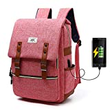 Stylische Unisex Rucksack mit USB Charging Anschluss, Multifunktion Vintage Canvas Backpack für 15' Notebook,Nylon Wasserdicht Daypacks Schultaschen Damen Herren für Outdoor Wandern Reisen Camping