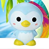 Hffan Decompression Funny Creative Toys New Style 9cm Cute Penguin Cartoon Scented Squishy Charm Slow Rising Squeeze Toy Charm for Children and Adult (Light blue)