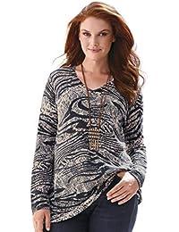 b41c5f6b509685 Anna Aura Damen Pullover Pullover mit V-Ausschnitt Softer Materialmix
