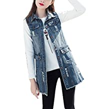 5 ALL Damen Beiläufige Jeansweste Denim Ärmellos Umlegekragen Lose Button Down Sommer Weste Jacke Blusen Vest Tunika Tops Shirt Blazer