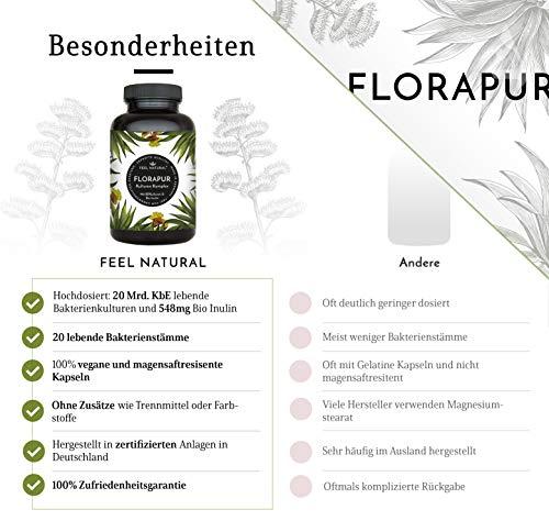 Florapur Kulturen Komplex – 20 Bakterienkulturen & Bio Inulin – 180 vegane, magensaftresistente Kapseln – u.a. Lactobacillus, Bifidobacterium – Hochdosiert: 20 Mrd KbE –