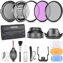 Neewer®49MM profesional accesorio Kit para Canon EOS 400D / Xti; D 450 / Xsi; 1000D / XS; 500D/T1i; 550D / T2i; 600D/T3i; 650D/T4i-700D/T5i; 100D-1100D; Nikon Sony Samsung Fujifilm Pentax y otras lentes de cámara réflex digital con rosca para filtros 49MM - incluye: filtro Kit (UV, CPL, FLD) + bolsa de transporte + lente de campanas (tulipán y plegable) + Flash difusor Set + tapas (centro pellizco y complemento en) + tapa Keeper Correa + Kit de limpieza Deluxe + paño de Limpieza microfibras