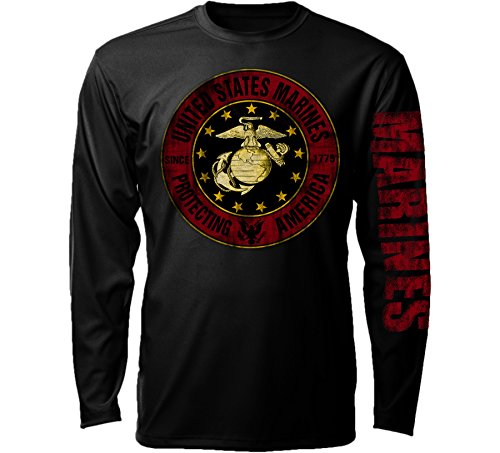 Joe Blow Herren Marine Corps Distress Logo Langarm T-Shirt - Schwarz - Large
