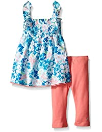Nautica Baby Girls' Floral Print Smocked Top with Legging Set