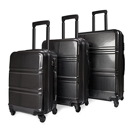 REYLEO Kofferset Trolley 3 teiliges Hartschale PC+ABS 4 Rollen 360°200 Liter Ideales Kabinengepäck mit Zahlenschloss TSA Schwarz