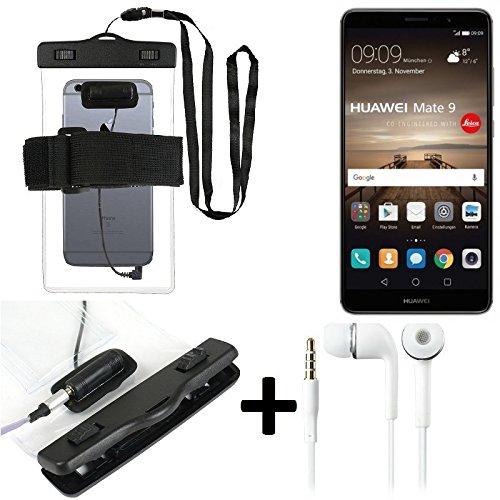 K-S-Trade Für Huawei Mate 9 (Dual-SIM) Wasserdichte Hülle mit Kopfhörereinlass + Headset, transparent Jogging Armband Wasserfeste Handyhülle Beach Bag Outdoor Beutel Schutzhülle Unterwasser case für