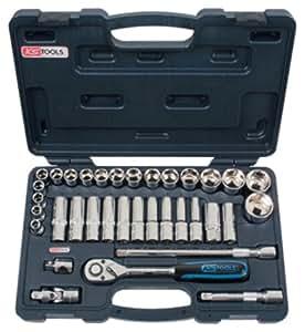 """KS Tools 918.0635 Coffret de douilles 1/2"""" - 10 à 34 mm - CHROMEplus  35 pcs"""