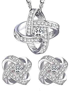 Lieberpaar Retro Damen Diamant 925 Sterling Silber Hochzeit Schmuck-Set Ohrhänger Ohrringe Creole +Halskette Brautschmuck...