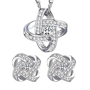 Lieberpaar Retro Damen Diamant 925 Sterling Silber Hochzeit Schmuck-Set Ohrhänger Ohrringe Creole +Halskette Brautschmuck Schmuckset für Weinachtengeschenk