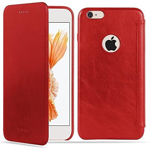 SUMGO® Apple iPhone 6 Plus, 6s Plus funda de cuero genuino funda de protecto Flip Cover Back Case bolso - en rojo