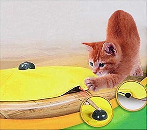 Yosoo Jouet de chat chaton 4 vitesses en bouche souris caché électronique interactif Jaune
