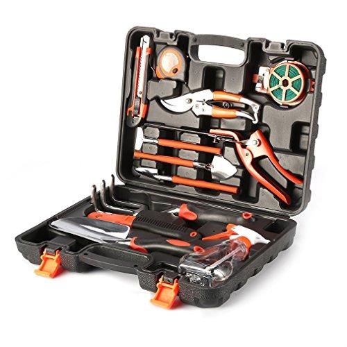 12-teiliger Garten Werkzeug Set, Gartengeräte Handwerkzeug im Tragekoffer, hochqualitativ robust für Gartenfreund u. Profigärtner, tolle Geschenkidee.